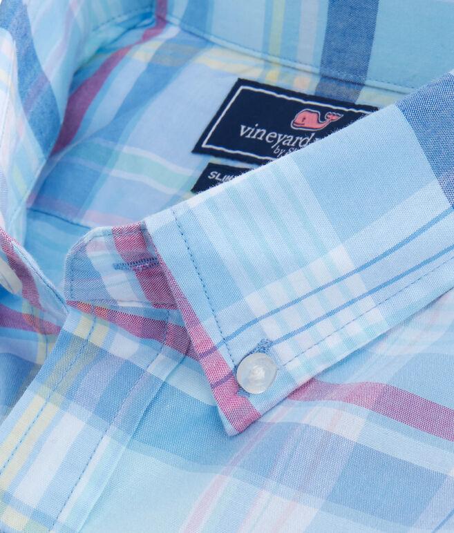 Short-Sleeve Cedar Point Plaid Slim Tucker Shirt
