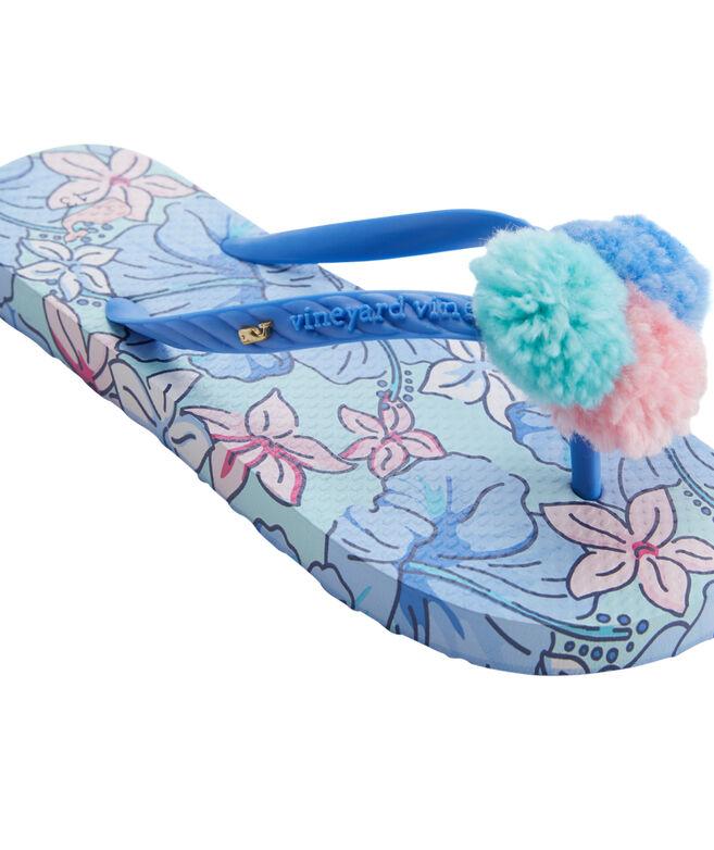Girls' Hibiscus Floral Printed Flip Flops