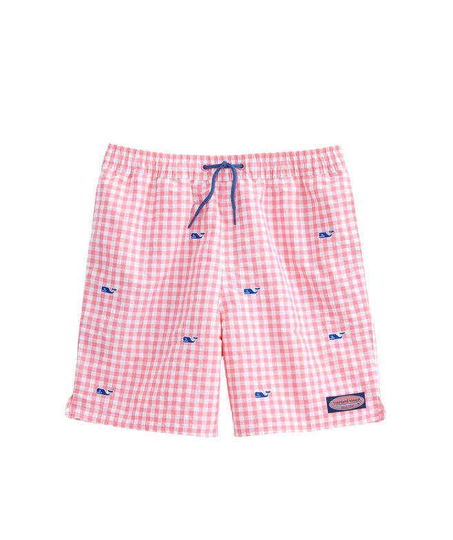 eff1530e4b Boys Micro Gingham Whale Embroidered Chappy Trunks