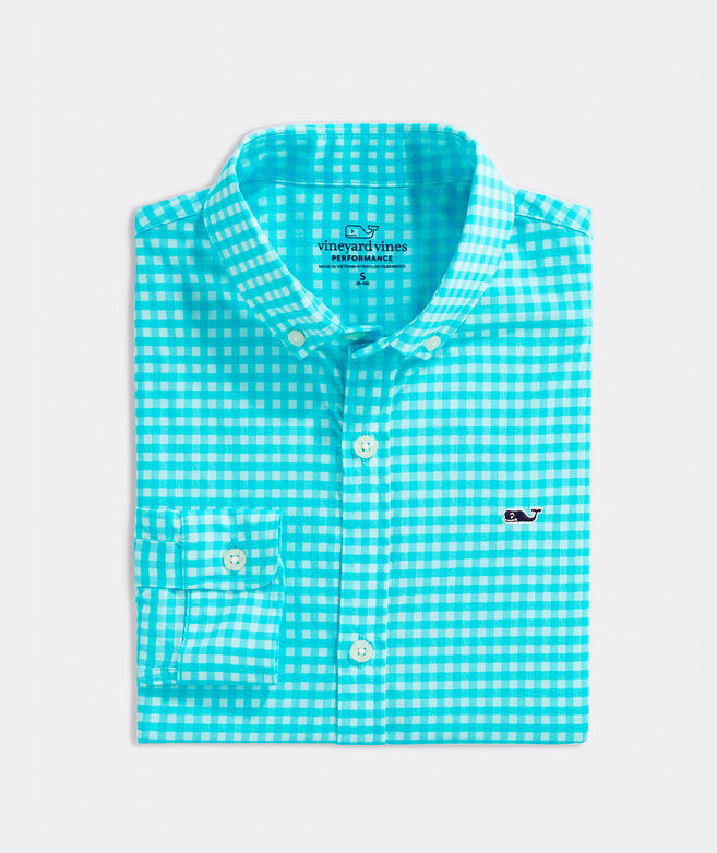 Boys' Paradise Plaid On-The-Go Performance Whale Button-Down Shirt