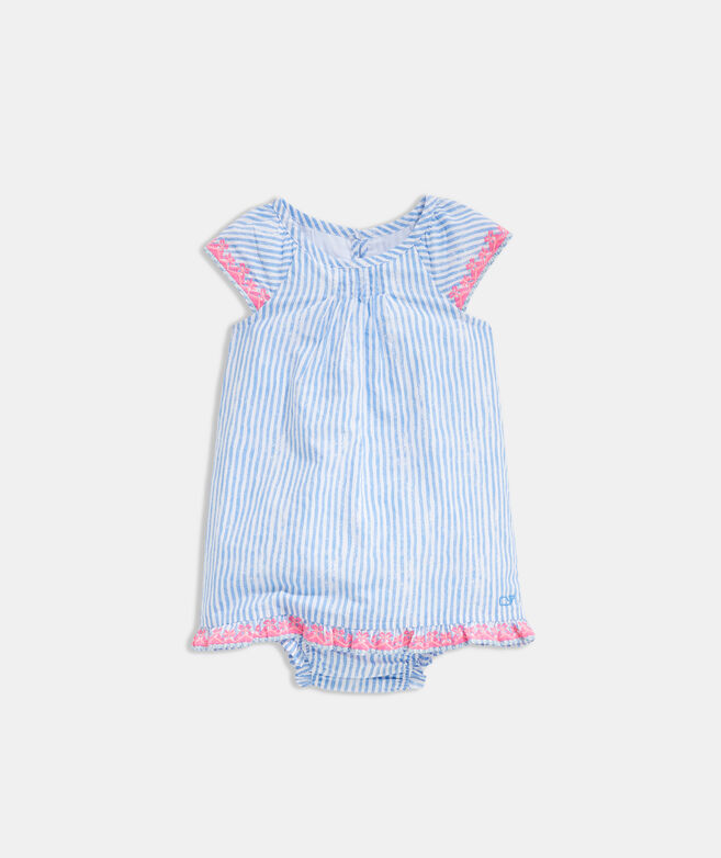Baby Girl Sunbleached Stripe Embroidered Dress Set