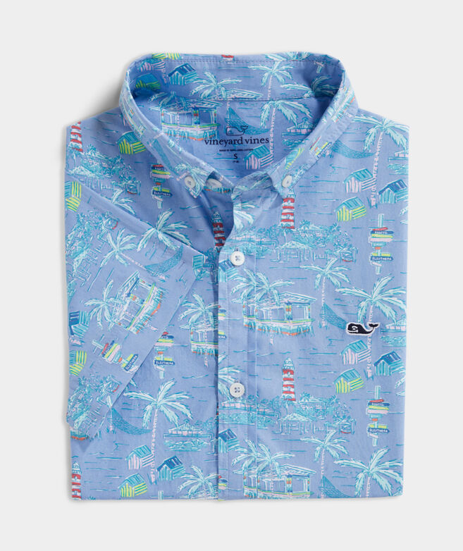 Boys' Bahamas Scene Short-Sleeve Whale Button-Down Shirt