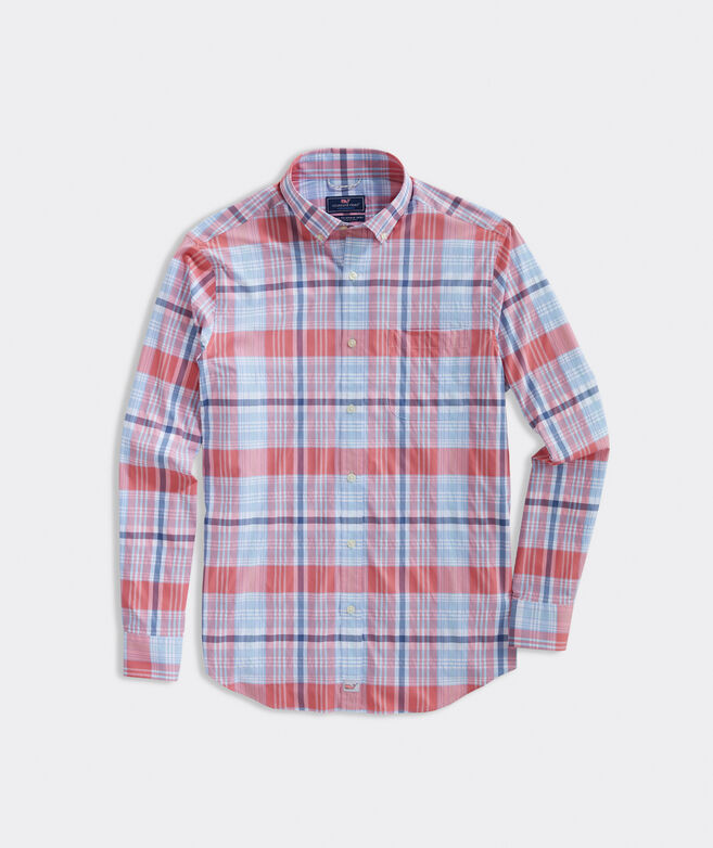 Classic Fit Sandy Plaid On-The-Go Performance Murray Button-Down Shirt