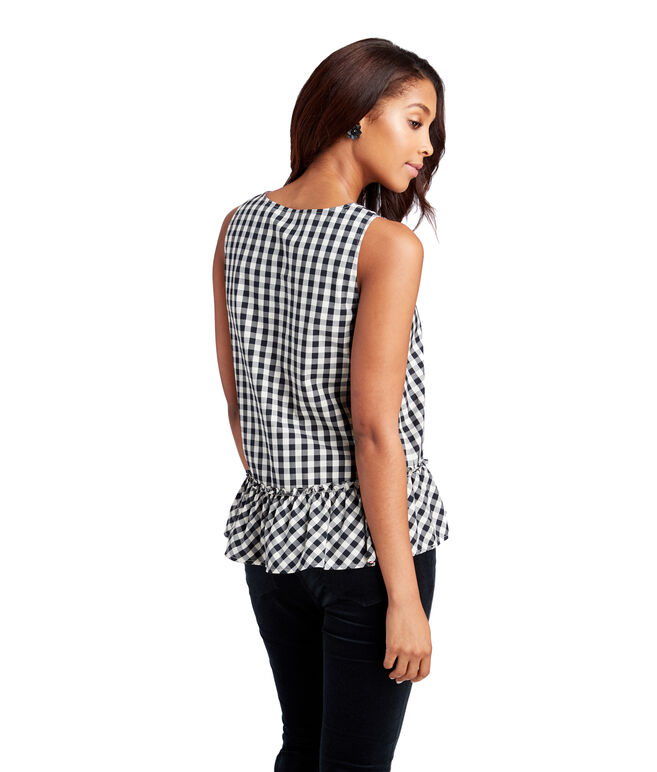 Gingham Sleeveless Flounce Shirt