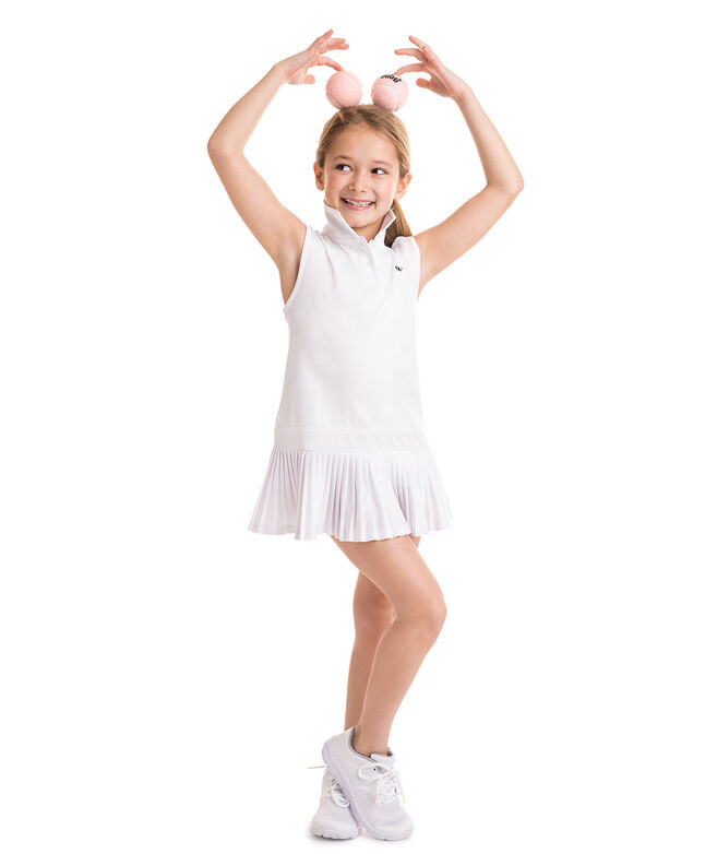 Girls Pleated Performance Polo Dress