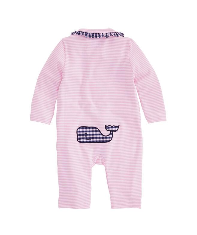 Baby Girl Vineyard Feeder Stripe Ruffle Collar One-Piece