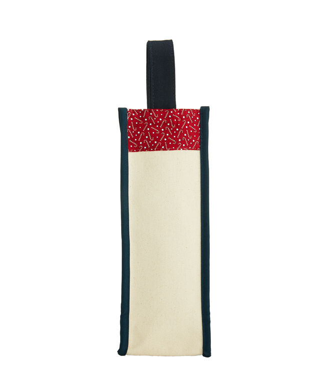 Tossed Candy Canes Wine Tote