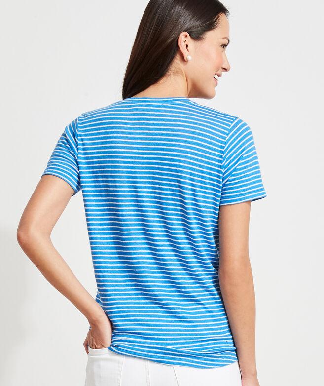 Striped Linen V-Neck Tee