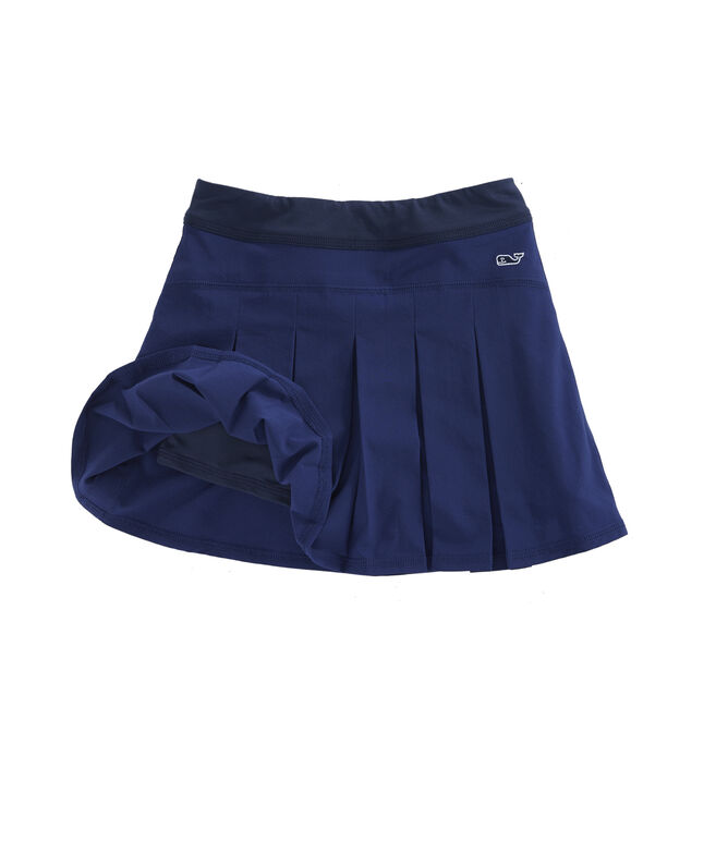 Girls Solid Pleated Golf Performance Skort
