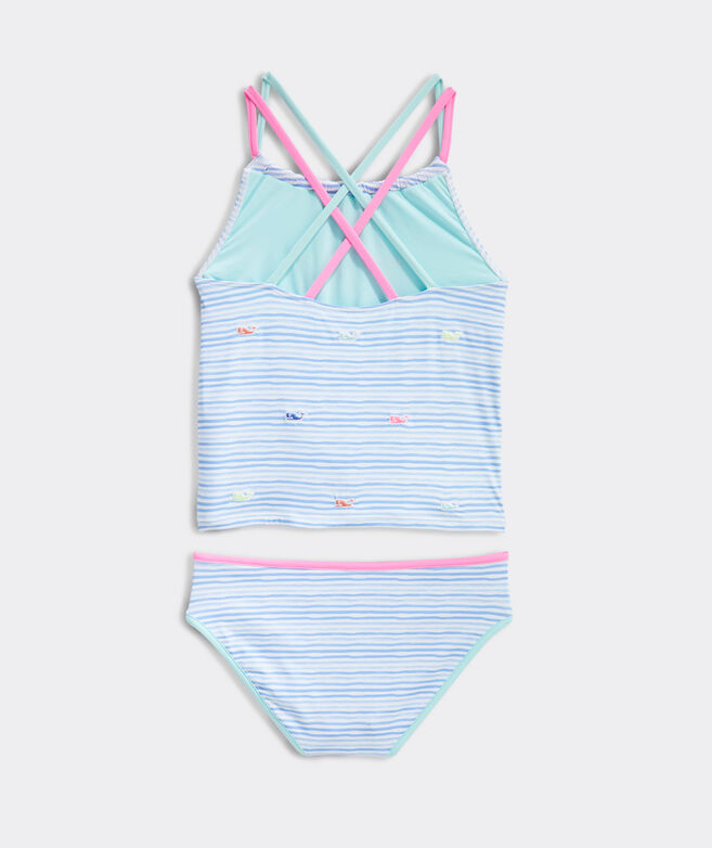 Girls' Watercolor Whales Embroidered Tankini