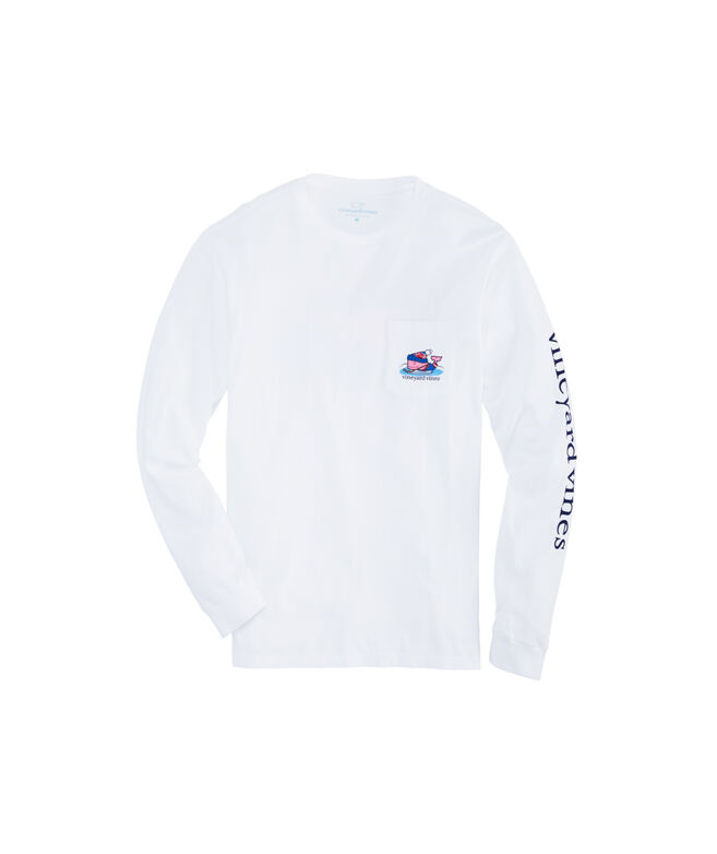 Pond Hockey Whale Long-Sleeve Pocket T-Shirt