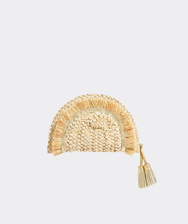 Leather Trim Straw Clutch