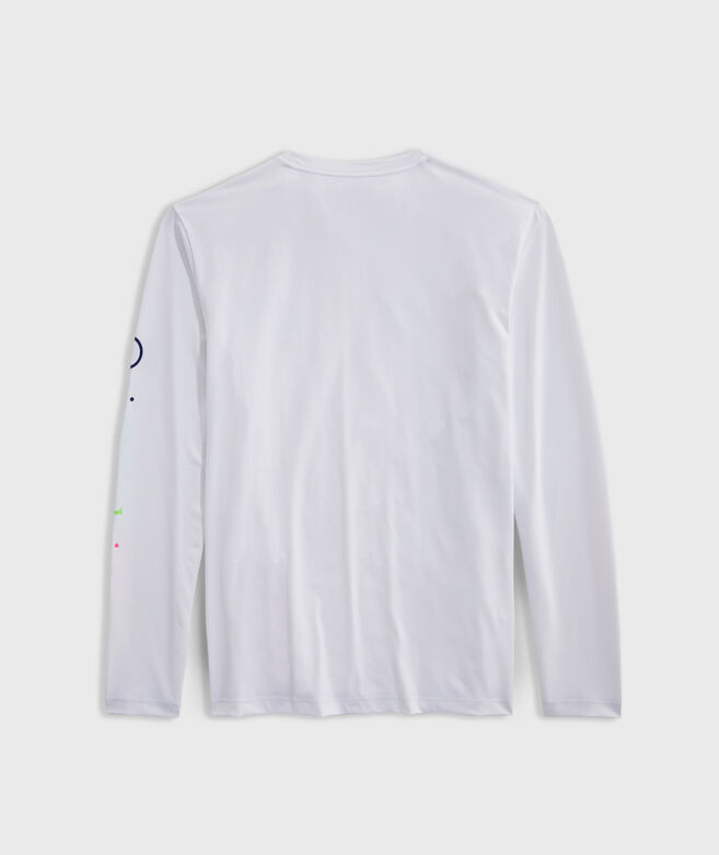 Neon Whale Dot Harbor Performance Long-Sleeve Tee