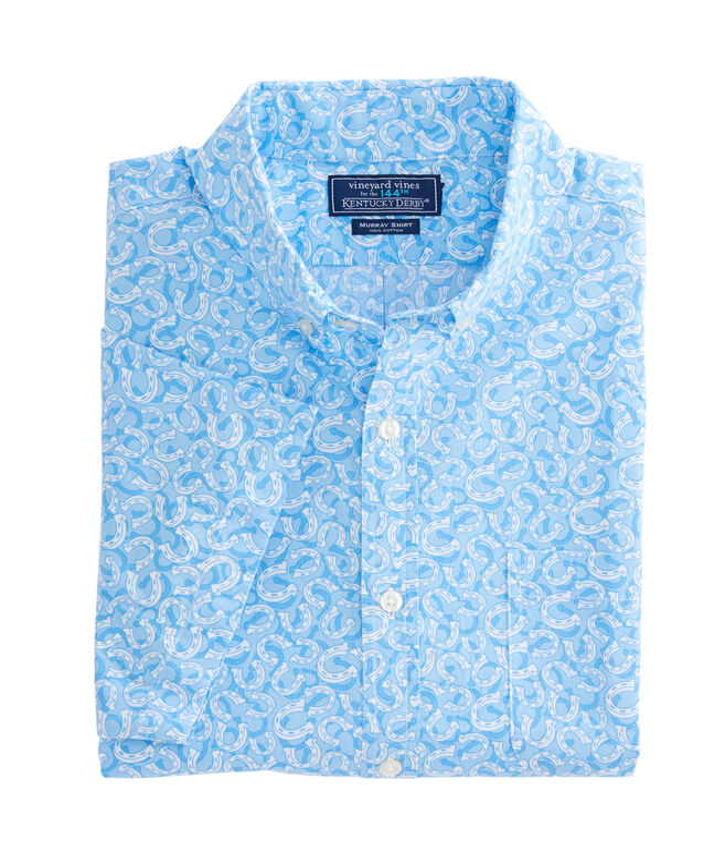 Short-Sleeve Horseshoe Printed Slim Murray Shirt