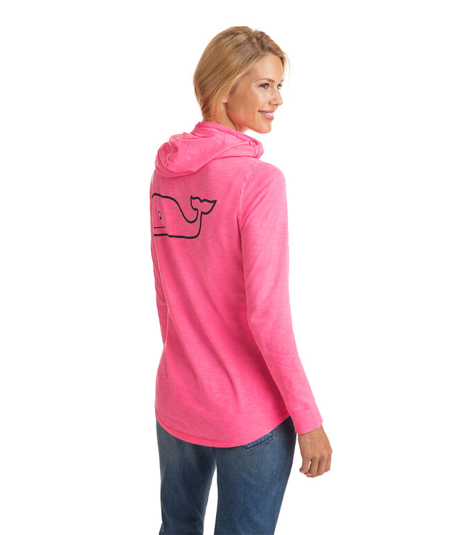 Long-Sleeve Garment Dyed Slub Whale Hoodie Tee