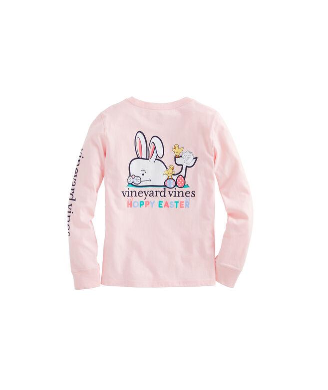Girls' Hoppy Easter Whale Long-Sleeve Pocket Tee