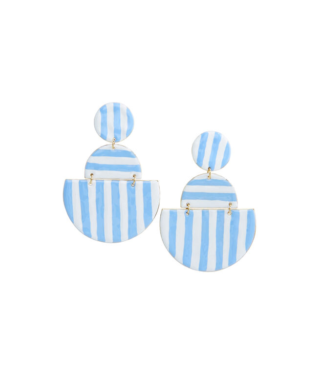 Striped Enamel Geometric Link Earrings