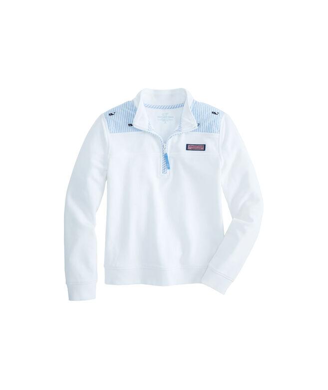 Girls Seersucker Shoulder Shep Shirt