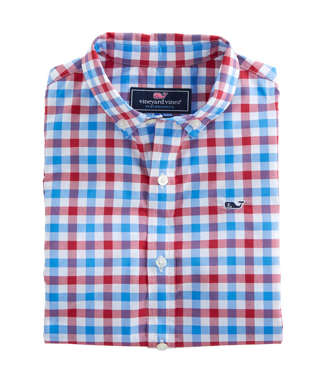 Boys Gull Island Gingham Performance Whale Shirt