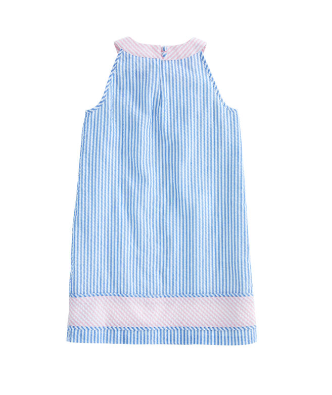 Girls Seersucker Block Dress