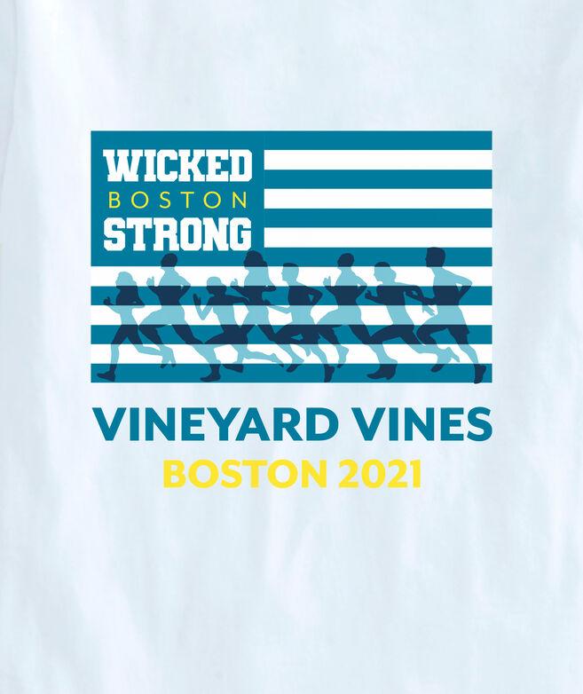 Wicked Strong Boston Marathon Flag Short-Sleeve Pocket Tee