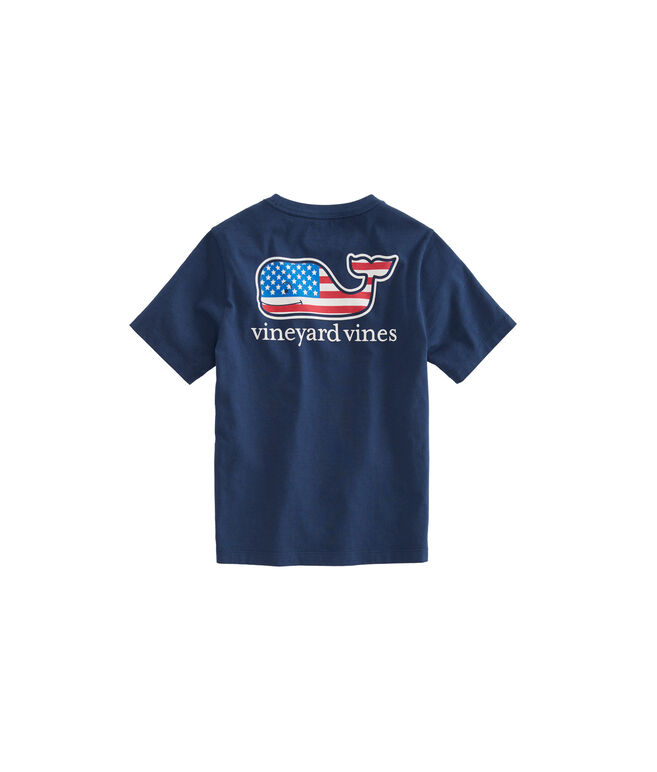 Boys Summer 2018 Flag Whale Pocket T-Shirt