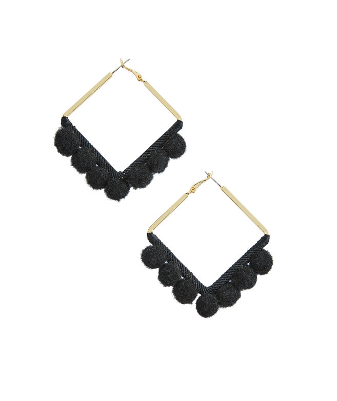 Square Pom Pom Hoop Earrings