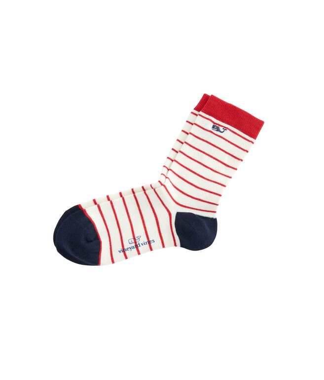 Womens Red & White Striped Socks
