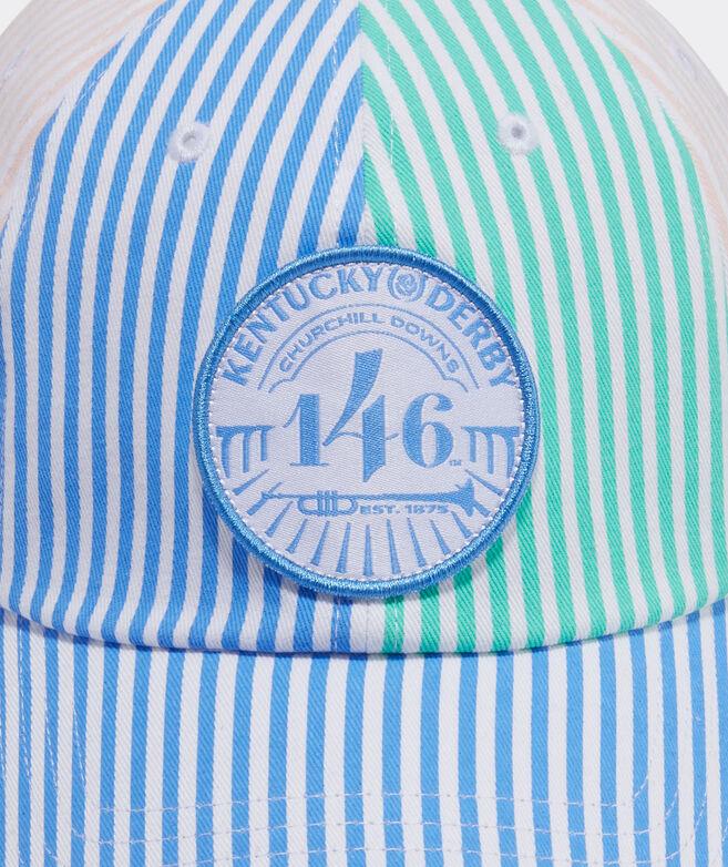 Kentucky Derby Logo Patch Striped Baseball Hat