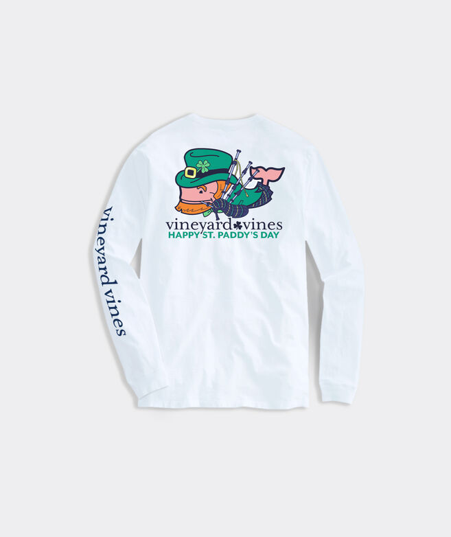 Big & Tall St. Paddy's Bagpiper Whale Long-Sleeve Pocket Tee