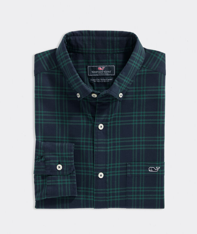 Classic Fit Plaid Shirt in Stretch Cotton