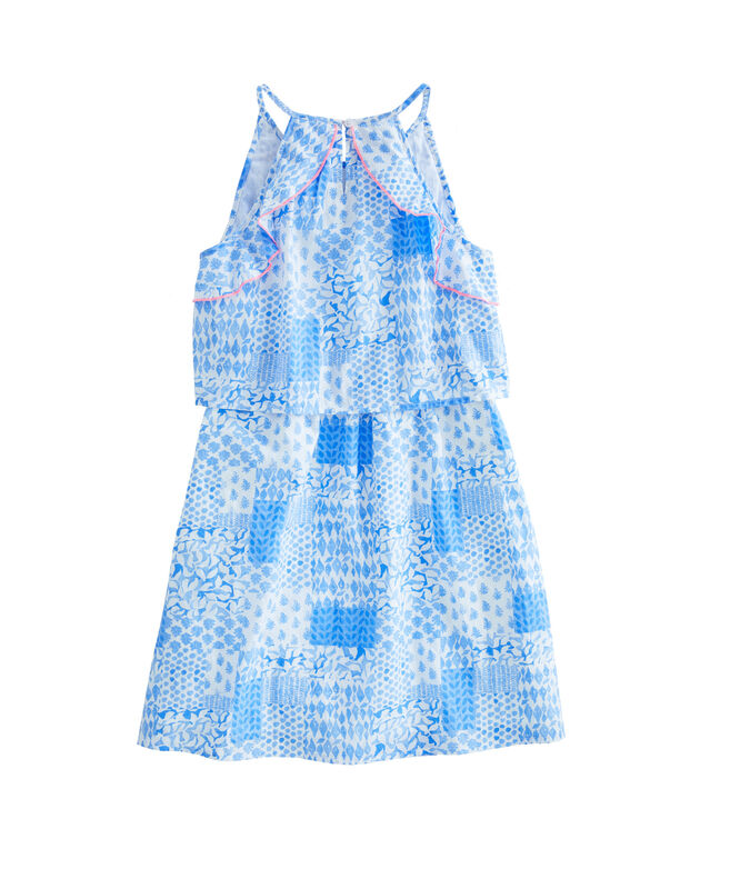 Girls Painted Patchwork Halter Dress
