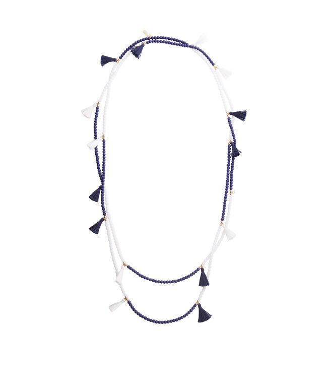 Navy Double Strand Tassel Necklace
