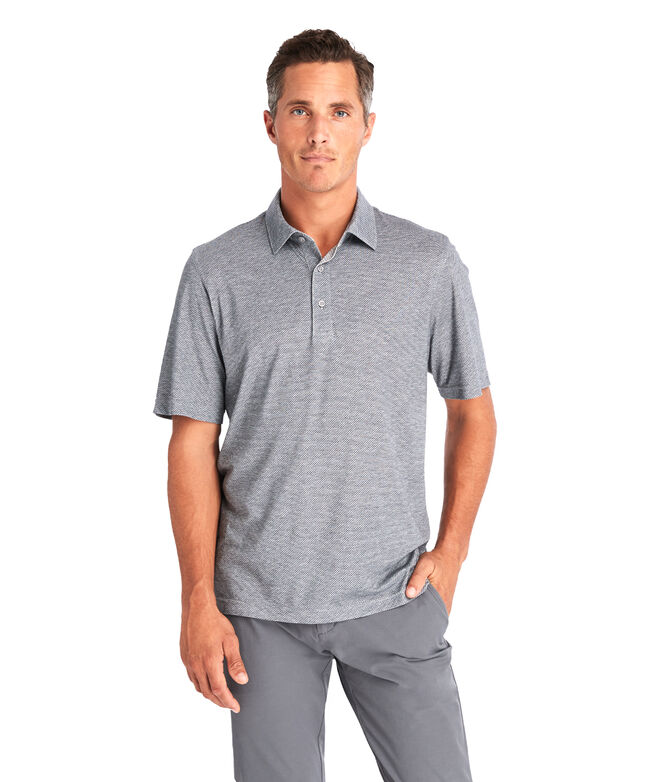 Carmel Heathered Pebble Printed Polo