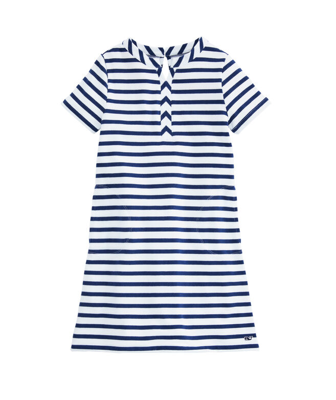 Girls Sandpiper Stripe Short-Sleeve Knit Dress