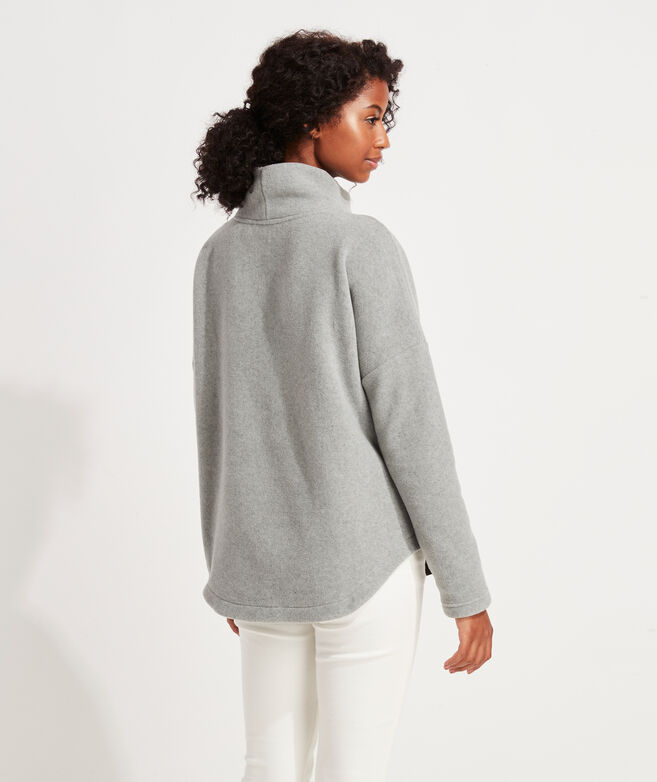 Funnel-Neck Heathered Cozy Fleece Top