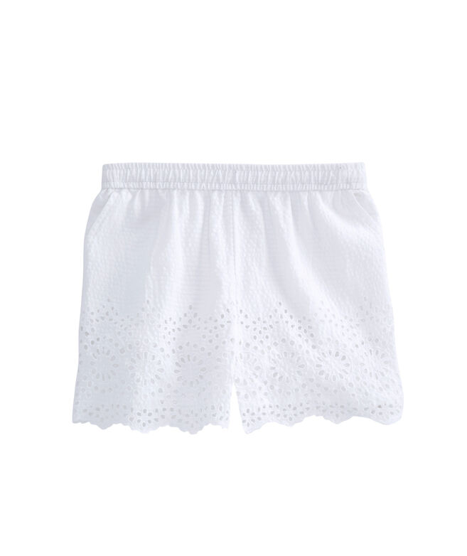 Girls Eyelet Seersucker Pull On Shorts