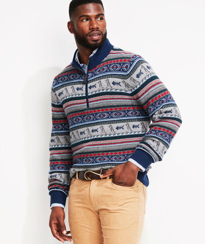 Holiday Icon Fair Isle Zip Mock