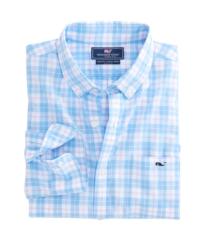 Shallow Sea Plaid Slim Tucker Shirt