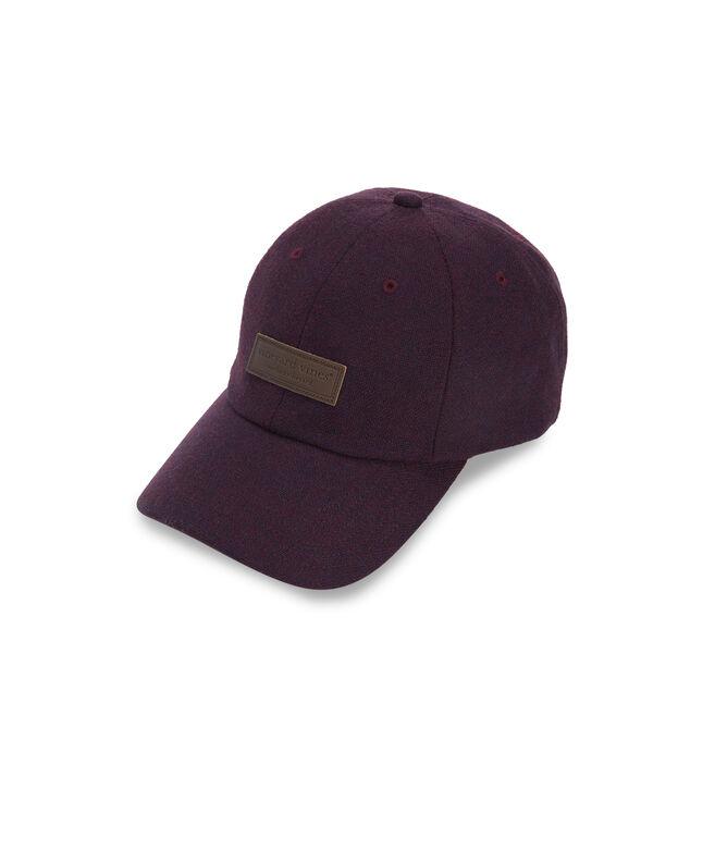 Leather Logo Tweed Baseball Hat