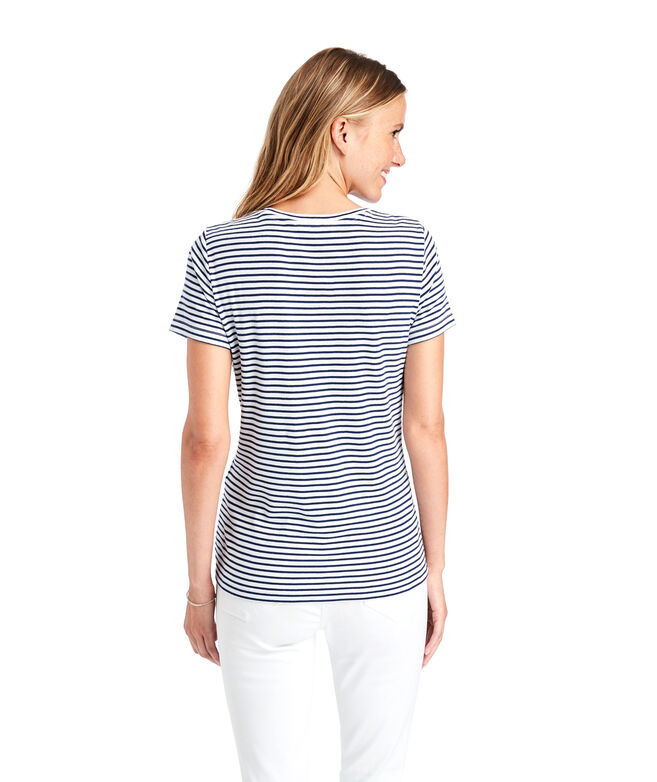Striped Simple Crewneck Short-Sleeve Tee