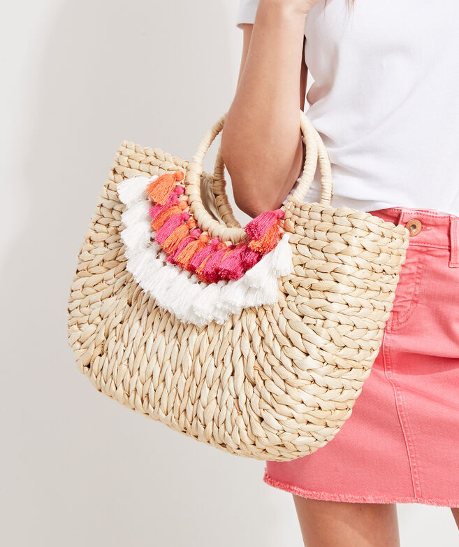 Tassel Trim Straw Tote Bag