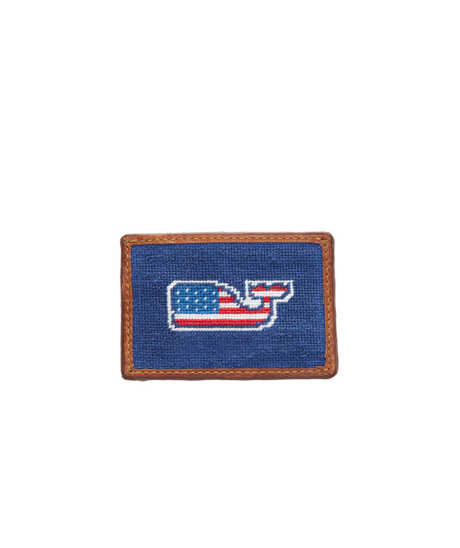 vineyard vines x Smathers & Branson Flag Whale Needlepoint Card Case