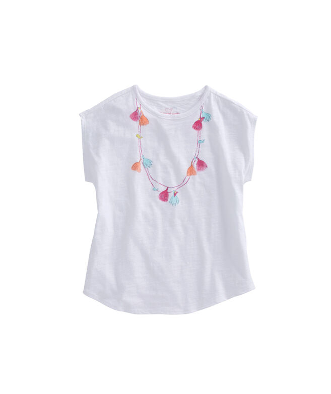 Girls Tassel Necklace Swing Tee