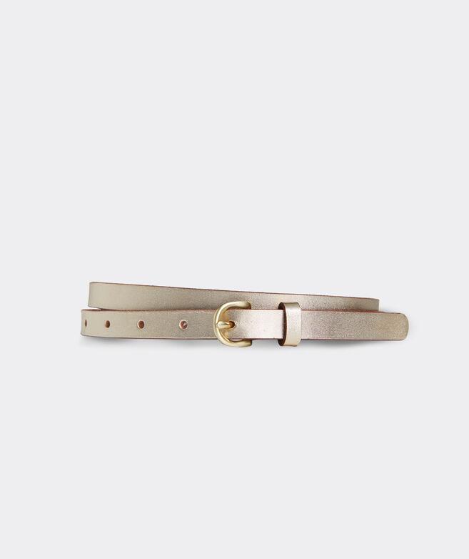 Metallic Skinny Leather Belt