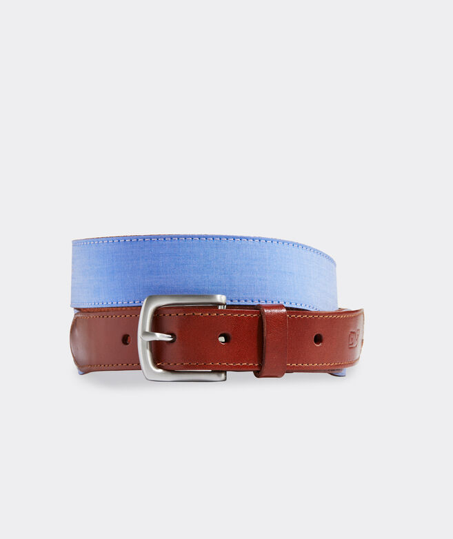 Leather & Chambray Club Belt