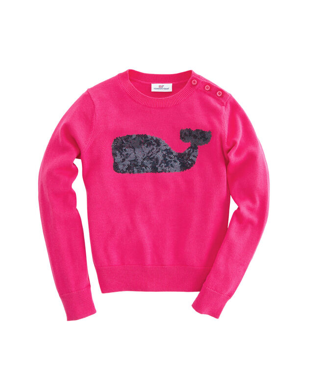 Girls Sequin Whale Crewneck Sweater