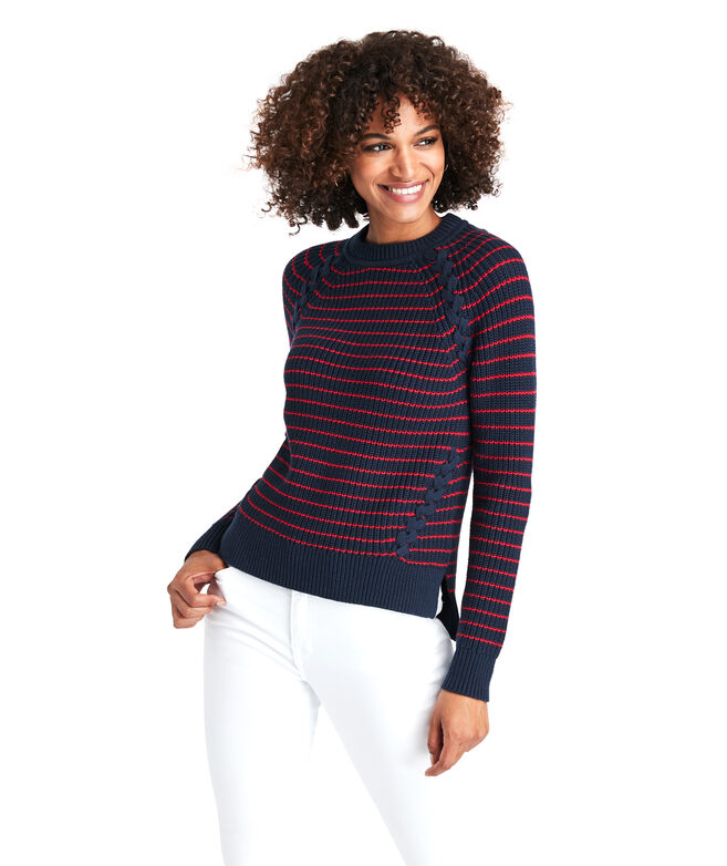 Break Stripe Lattice Crewneck Sweater