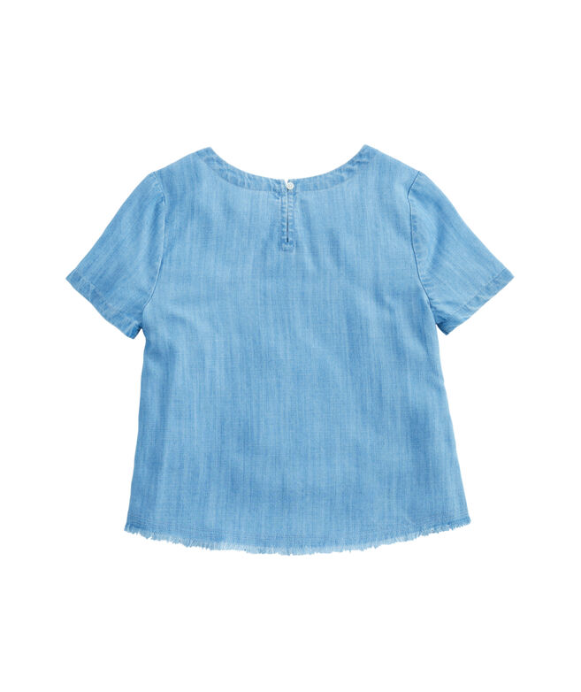Girls Chambray Fringe Short-Sleeve Top