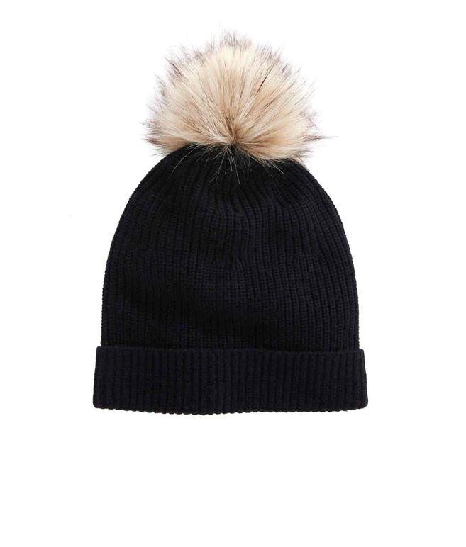 Ribbed Fur Pom Hat
